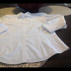Brooks brothers 3/4 sleeve crisp white shirt